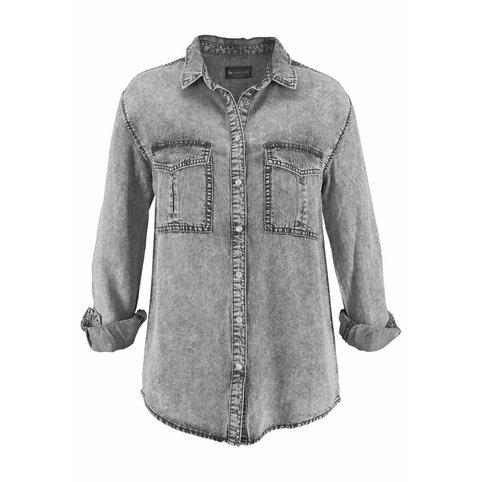 Chemise en jean grise femme - Vetement fitness et mode da243b7bbc29