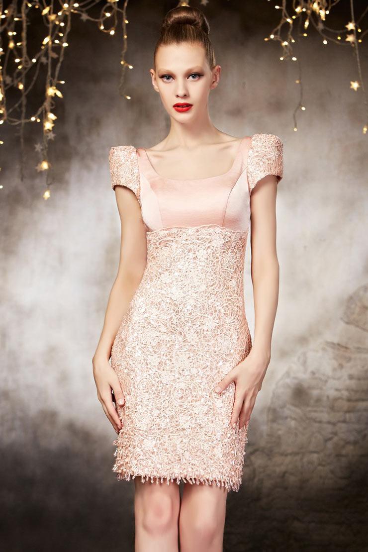 Robe de soiree courte rose