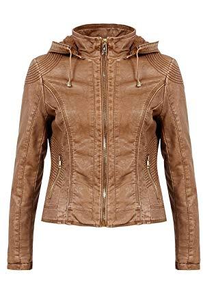 Veste en simili cuir femme avec capuche
