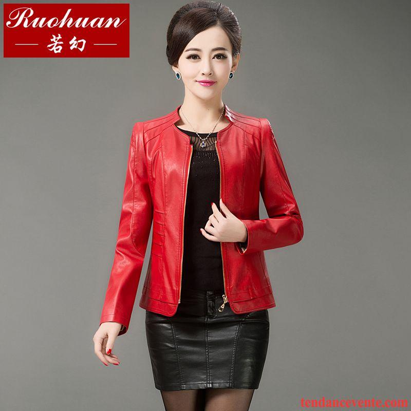 Veste cuir rouge femme pas cher