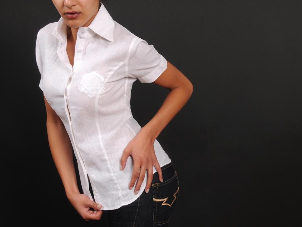 Chemise femme blanche manche courte