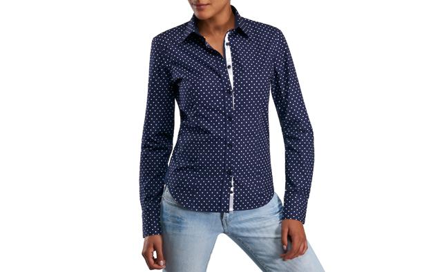 Chemisier bleu marine à pois blancs. Chemisier bleu marine à pois blancs. Je  veux trouver une belle chemise femme et agréable à porter pas cher ICI ... 3b15bb59a62b