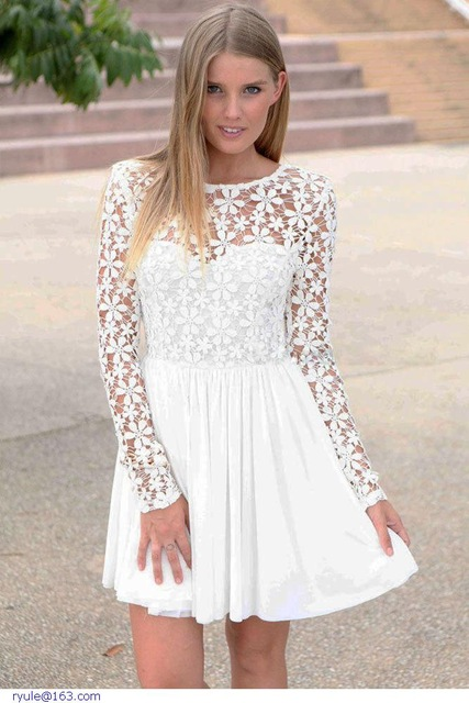 be84b65e880f5 Robe blanche dentelle manche longue - Vetement fitness et mode