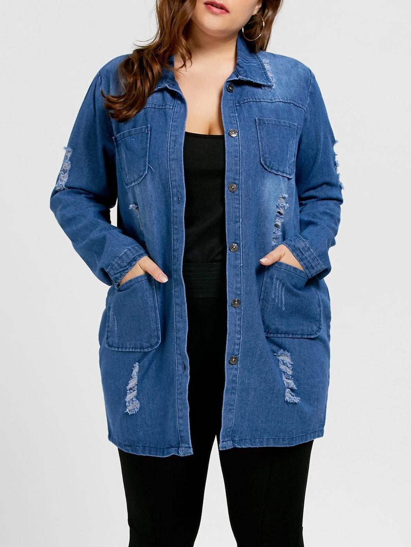 6d4471c3dd0 Veste longue jean femme grande taille - Vetement fitness et mode