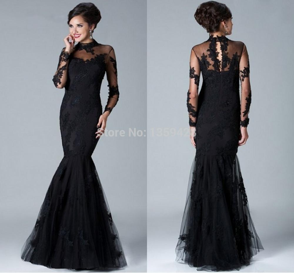 b16b56f5b4cb0 Robe de soirée longue dentelle noir - Vetement fitness et mode