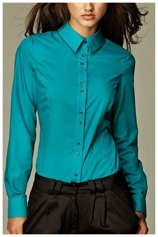 Chemisier bleu turquoise femme