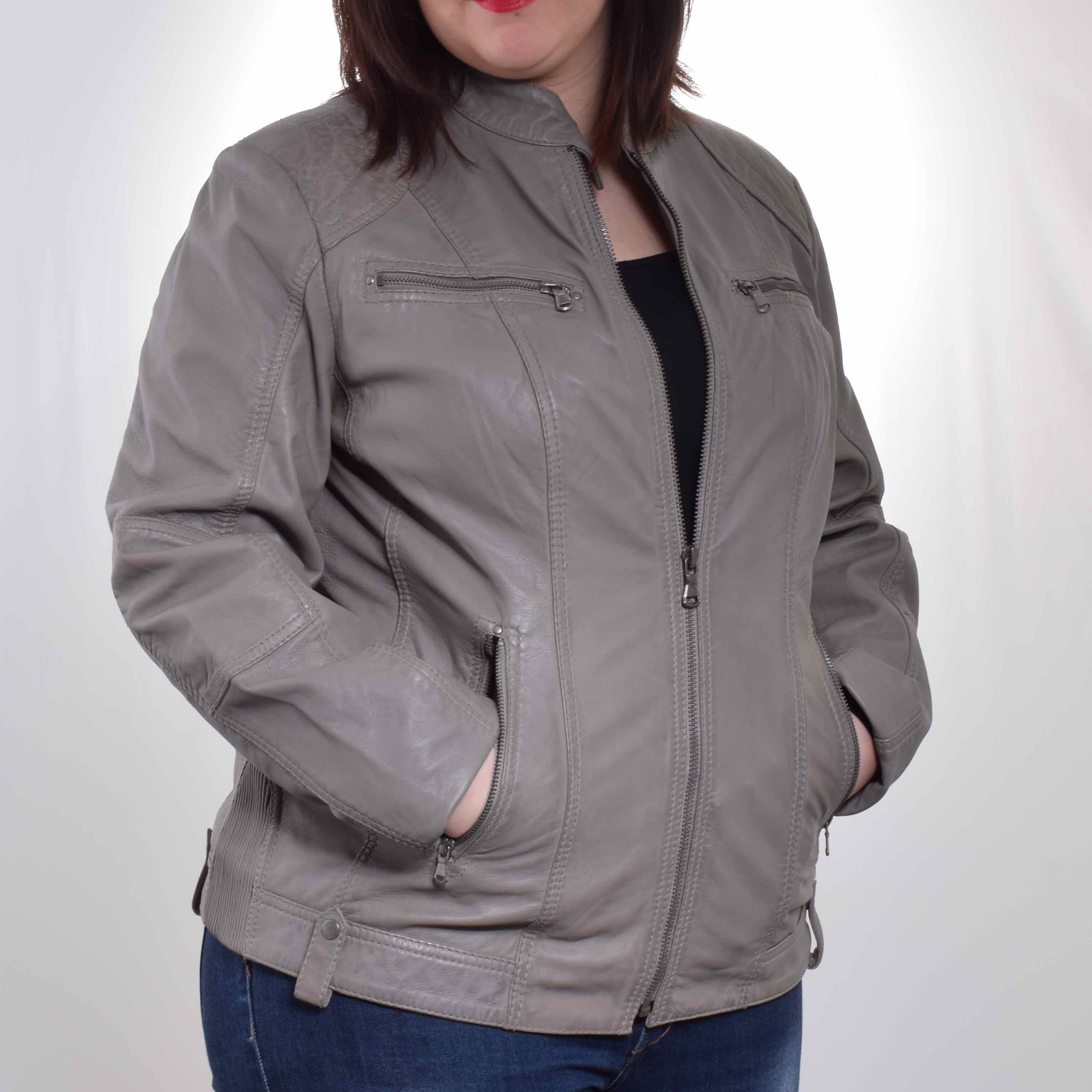 Veste en cuir femme grande taille pas cher