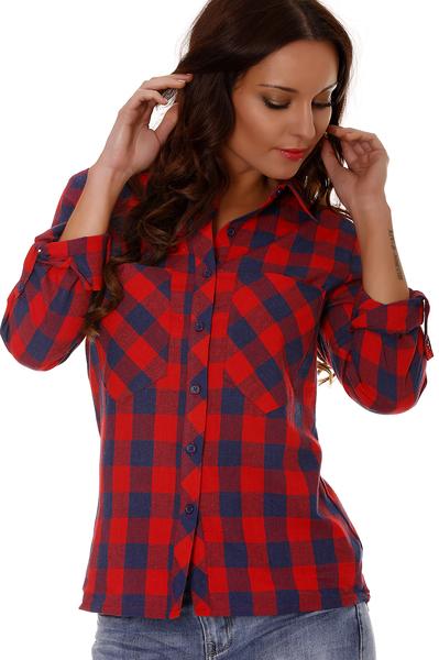 Chemise carreaux rouge noir femme