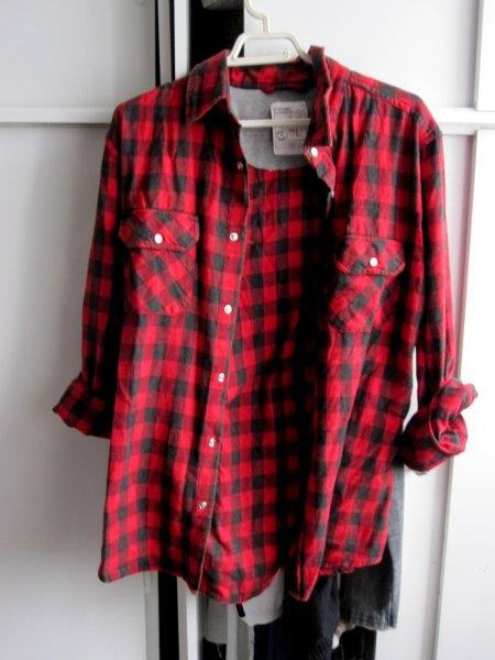 Chemise à carreaux rouge femme