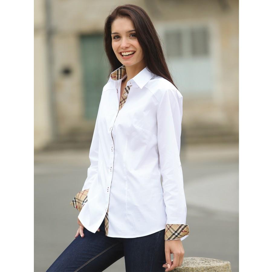 Chemise blanche femme coton - Vetement fitness et mode ef3862215f5