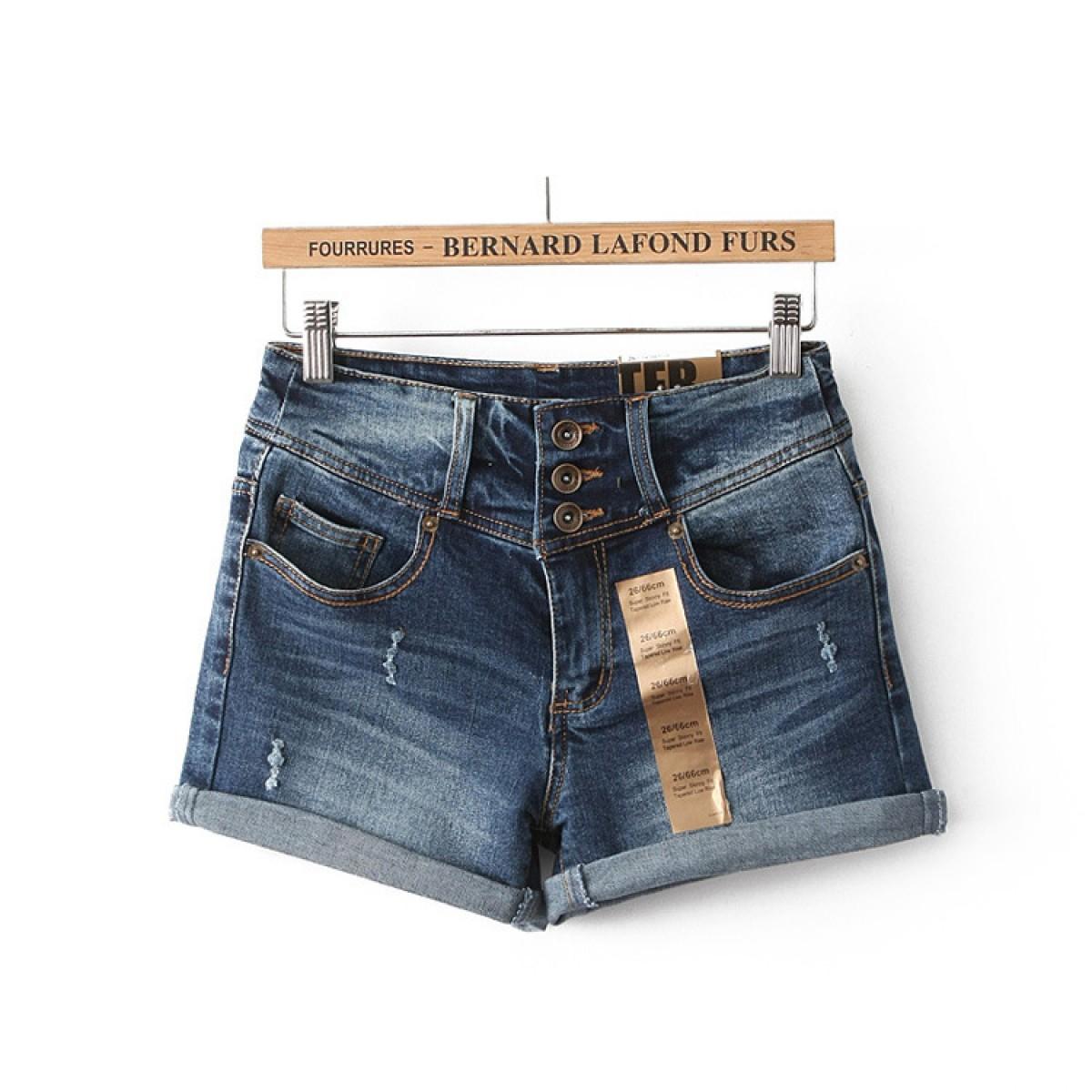 Short en jean femme taille basse