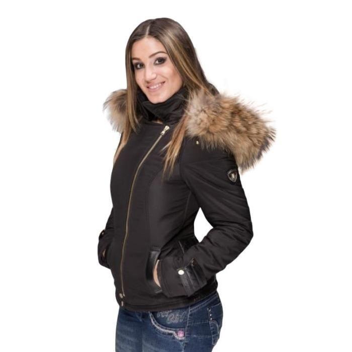 Veste cuir femme avec capuche fourrure