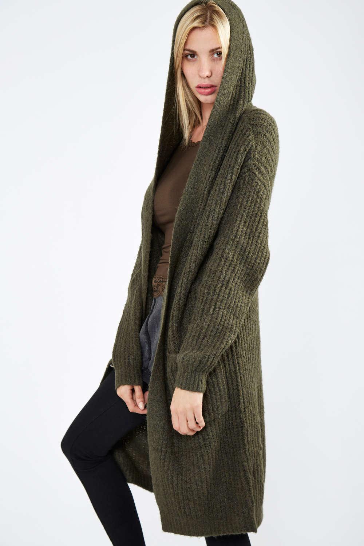 Veste longue en laine femme avec capuche