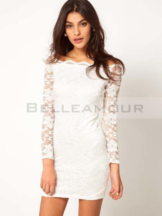 9a78250d3283d Robe blanche manches longues dentelle - Vetement fitness et mode