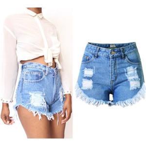 Short en jean avec revers femme