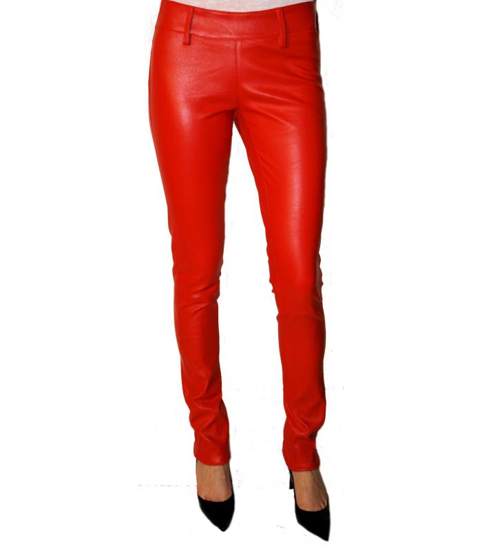 Legging cuir rouge femme