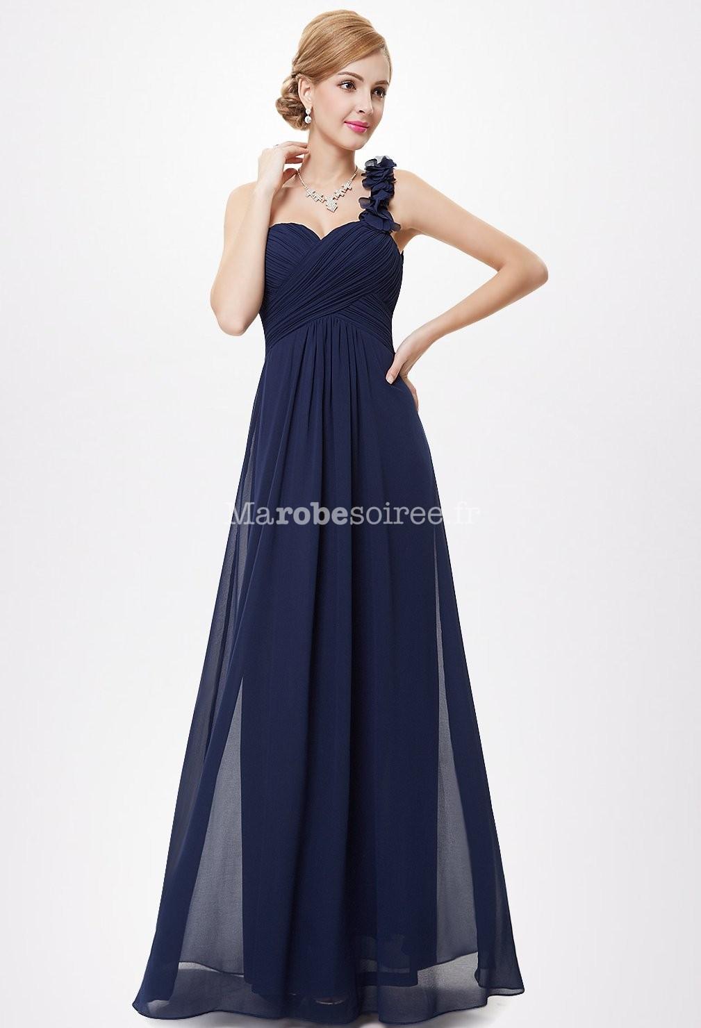 Robe de soiree bleu marine longue