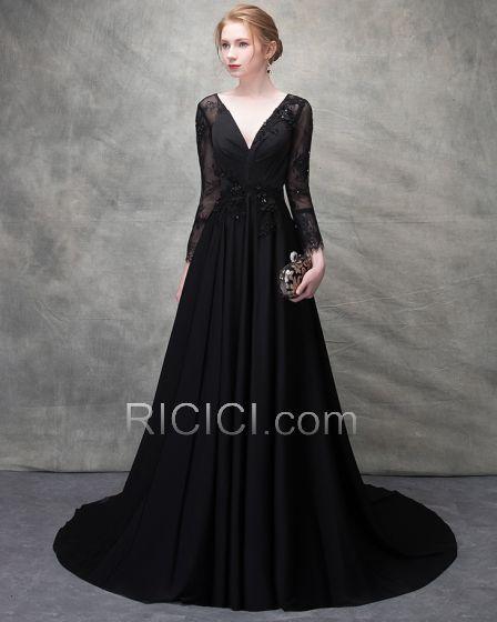 Robe de soirée longue en dentelle noire - Vetement fitness et mode 75ca1fd8fc8