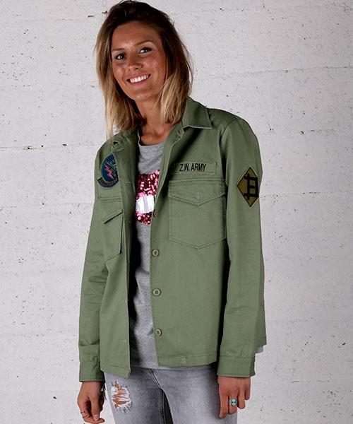 Veste femme kaki militaire - Vetement fitness et mode 4fa99f950199