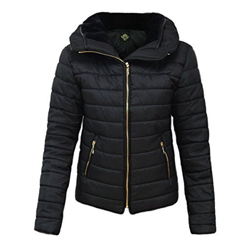 Doudoune femme courte neuve noire capuche doublee fourrure manteau parka veste blouson noir neuf