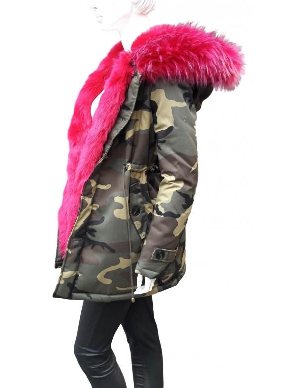 Parka camouflage femme fourrure noire